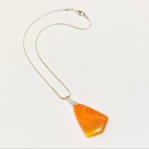 Genuine Orange Striped Onyx Stone Pendant Necklace
